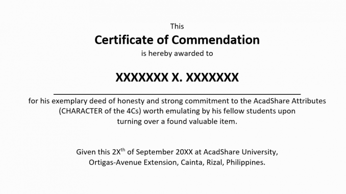 Sample Certificate Of Commendation
